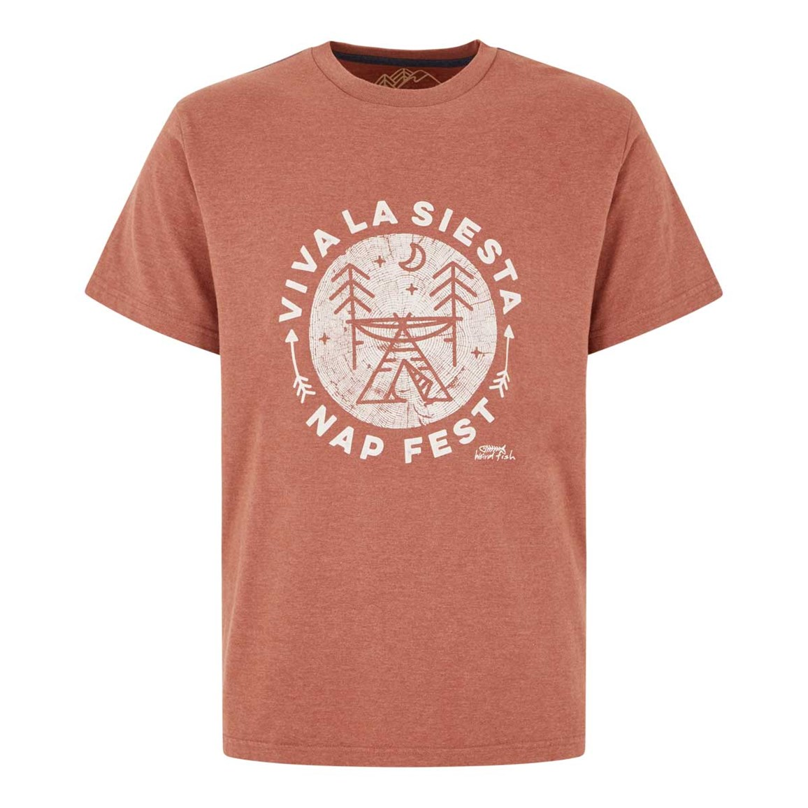 Weird Fish Carlo Graphic Print T-Shirt Brick Red Marl Size 2XL