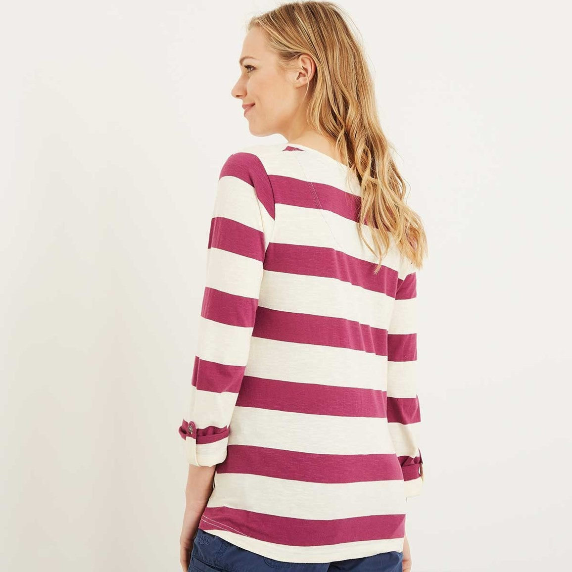 Ajay cotton slub stripe long sleeve t shirt boysenberry for What is a slub shirt
