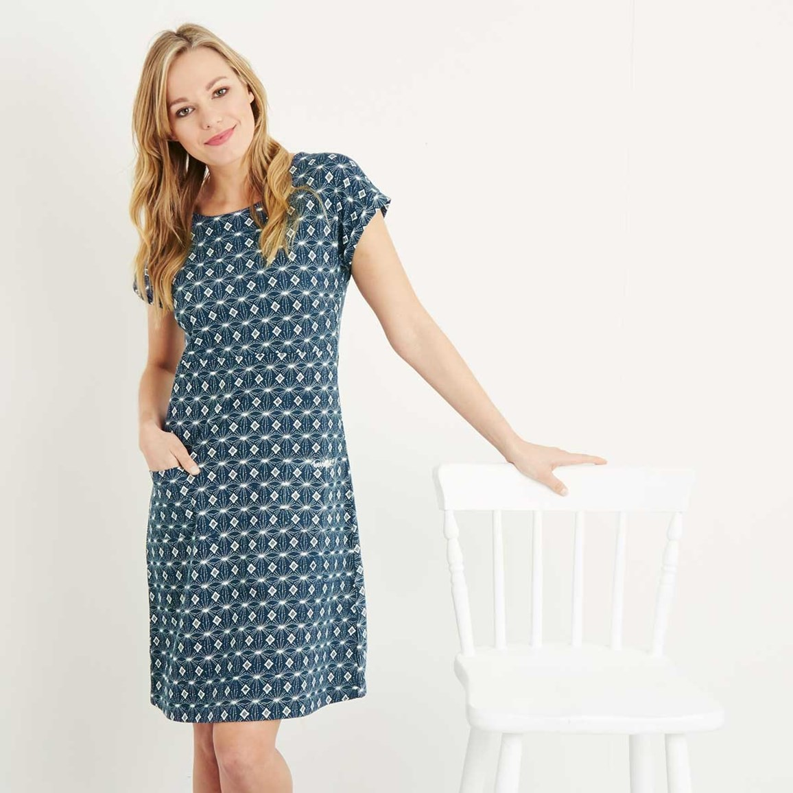 c37e2ac37cb6b Tallahassee Printed Cotton Jersey Dress Ink