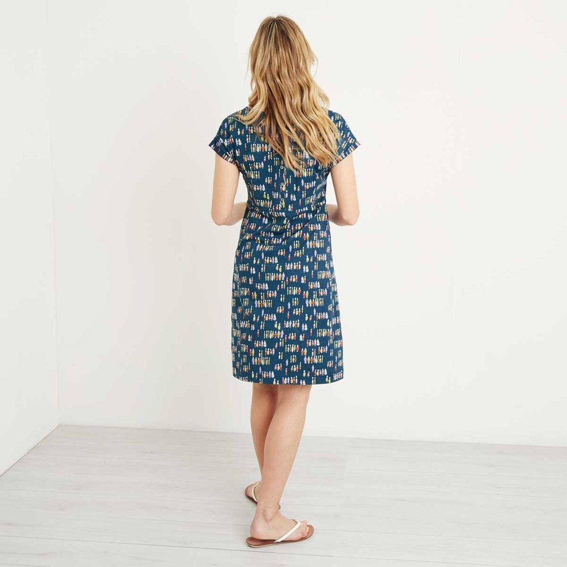 09f83638b85 Tallahassee Printed Cotton Jersey Dress Navy