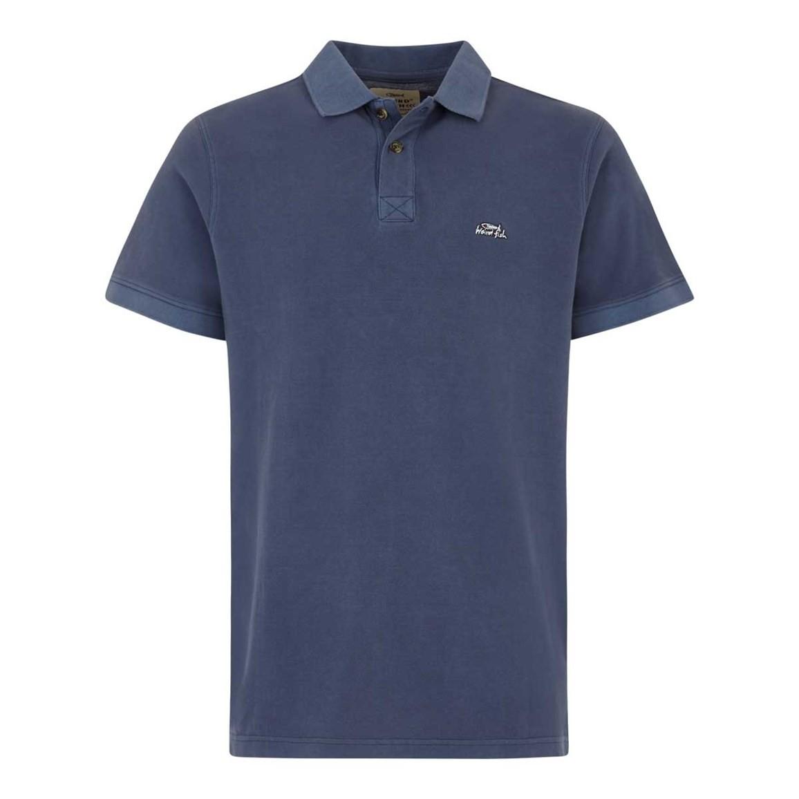 Weird Fish Edwin Garment Dyed Polo Shirt Maritime Blue