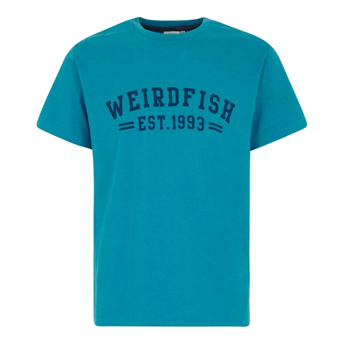 Weird Fish Bang Branded Logo Crew Tee Blue Jay Marl