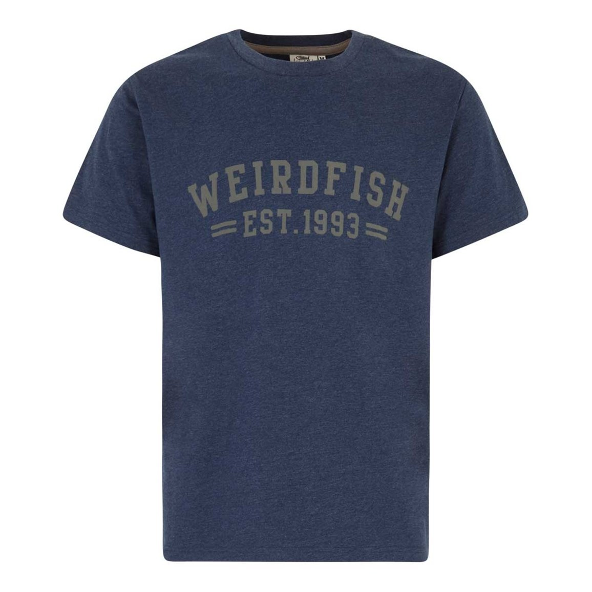Weird Fish Bang Branded Logo Crew Tee Black Iris Marl
