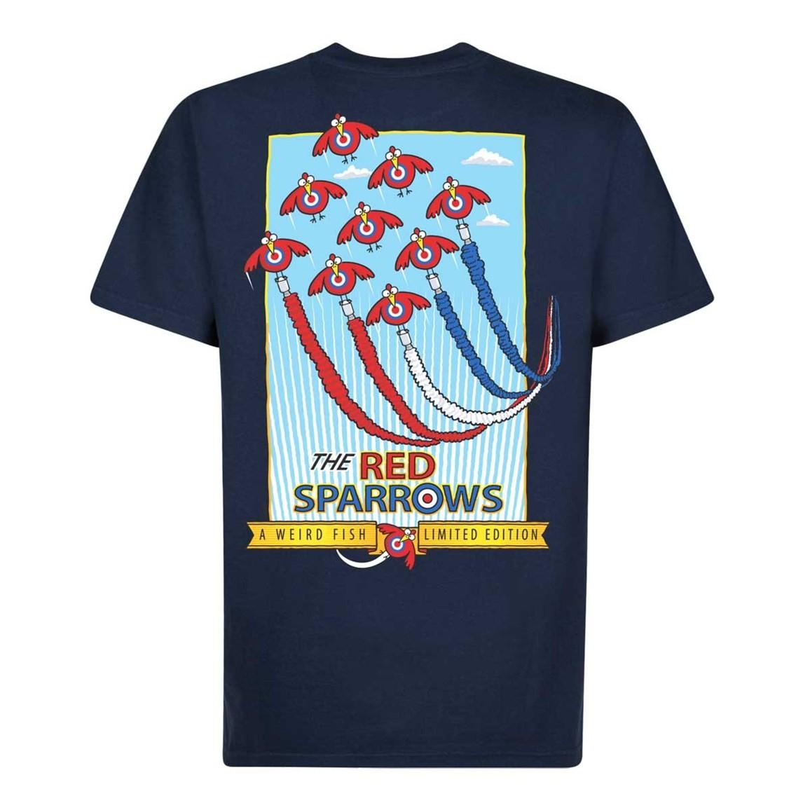 Weird Fish Red Sparrows Artist T-Shirt Maritime Blue Size 2XL