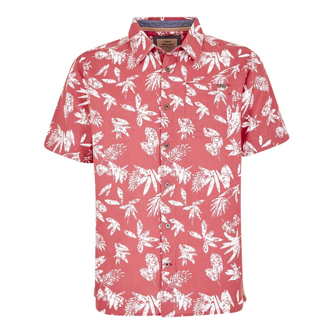 Weird Fish Mullins Hawaiian Short Sleeve Shirt Rose