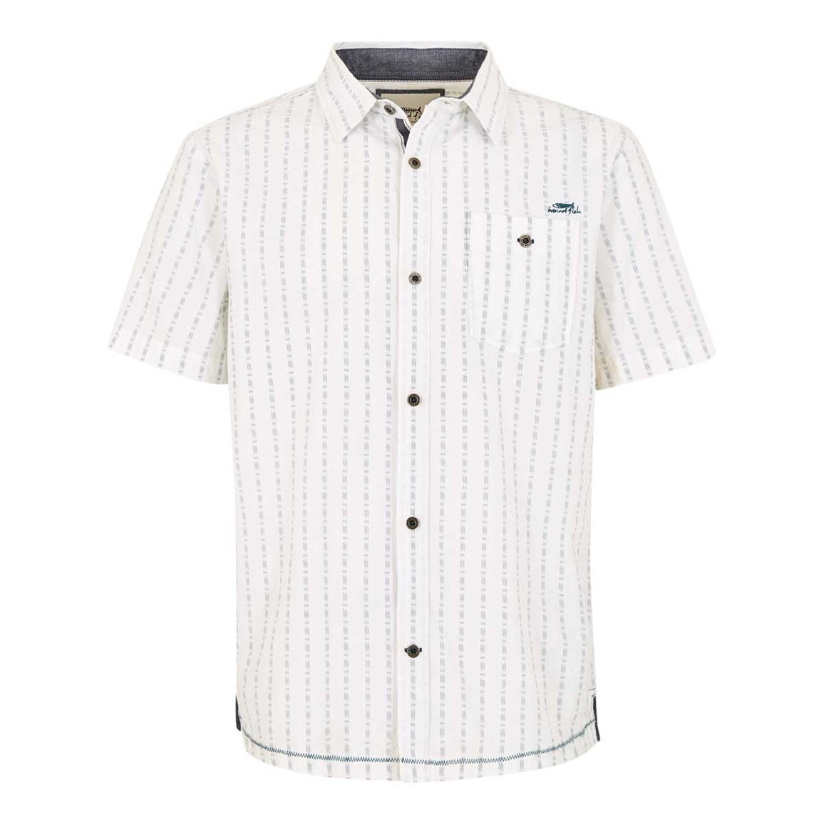 Weird Fish Harmon Stripe Dobby Shirt Off White