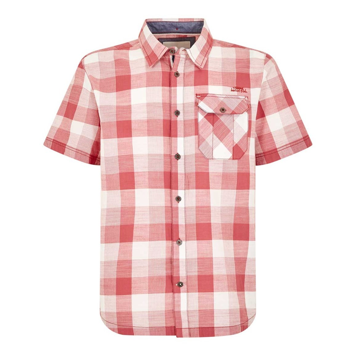 Weird Fish Almus Slub Check Shirt Rose
