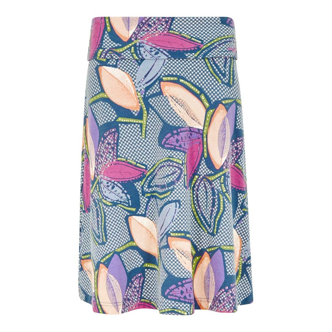 Weird Fish Accona Quick Dry Printed Jersey Skirt Dusty Teal