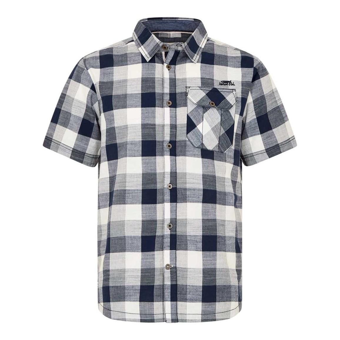 Weird Fish Almus Slub Check Shirt Black Iris