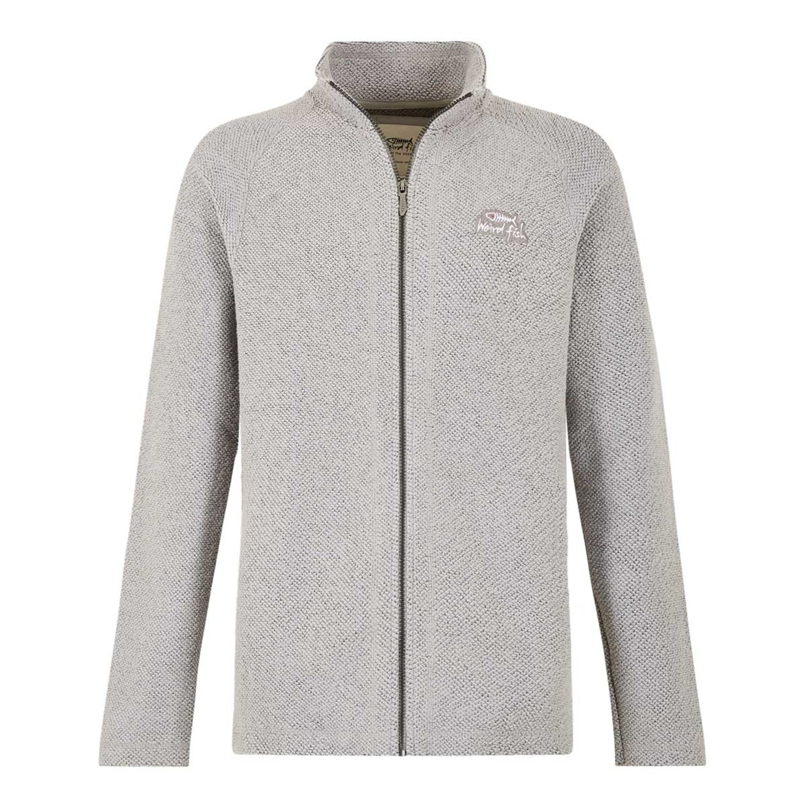 Weird Fish Helmstead Full Zip Seira Knit Grey