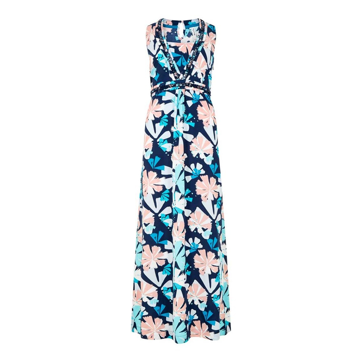 Weird Fish Cloud Printed Maxi Dress Dark Navy