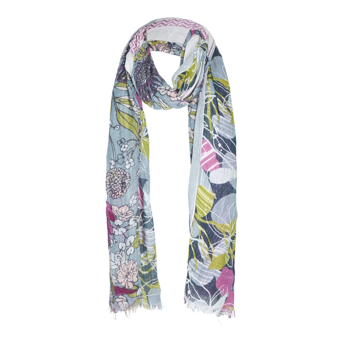 Weird Fish Deana Print & Jacquard Scarf Citadel Size ONE