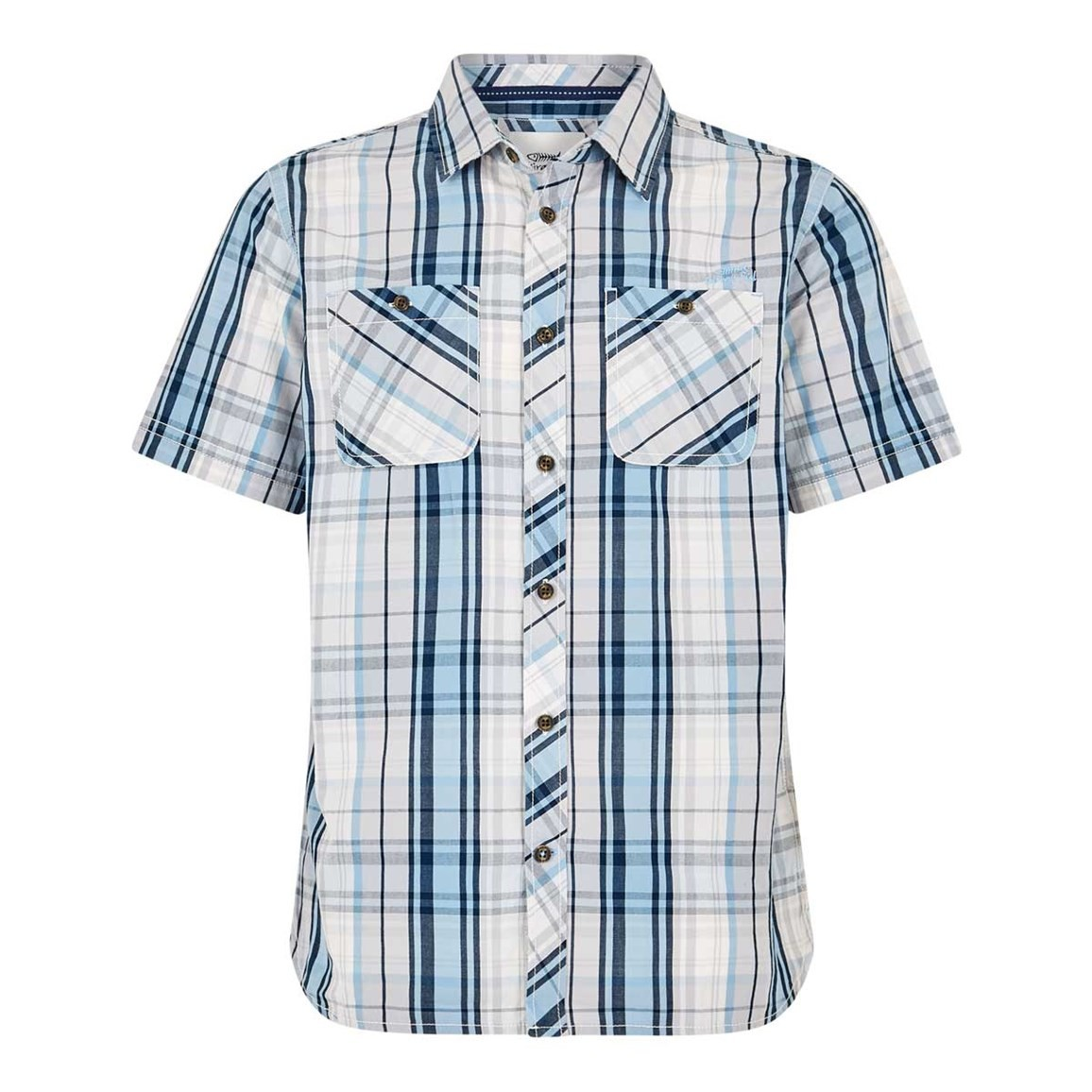 Weird Fish Jennings MicroSand Check Shirt Pale Denim
