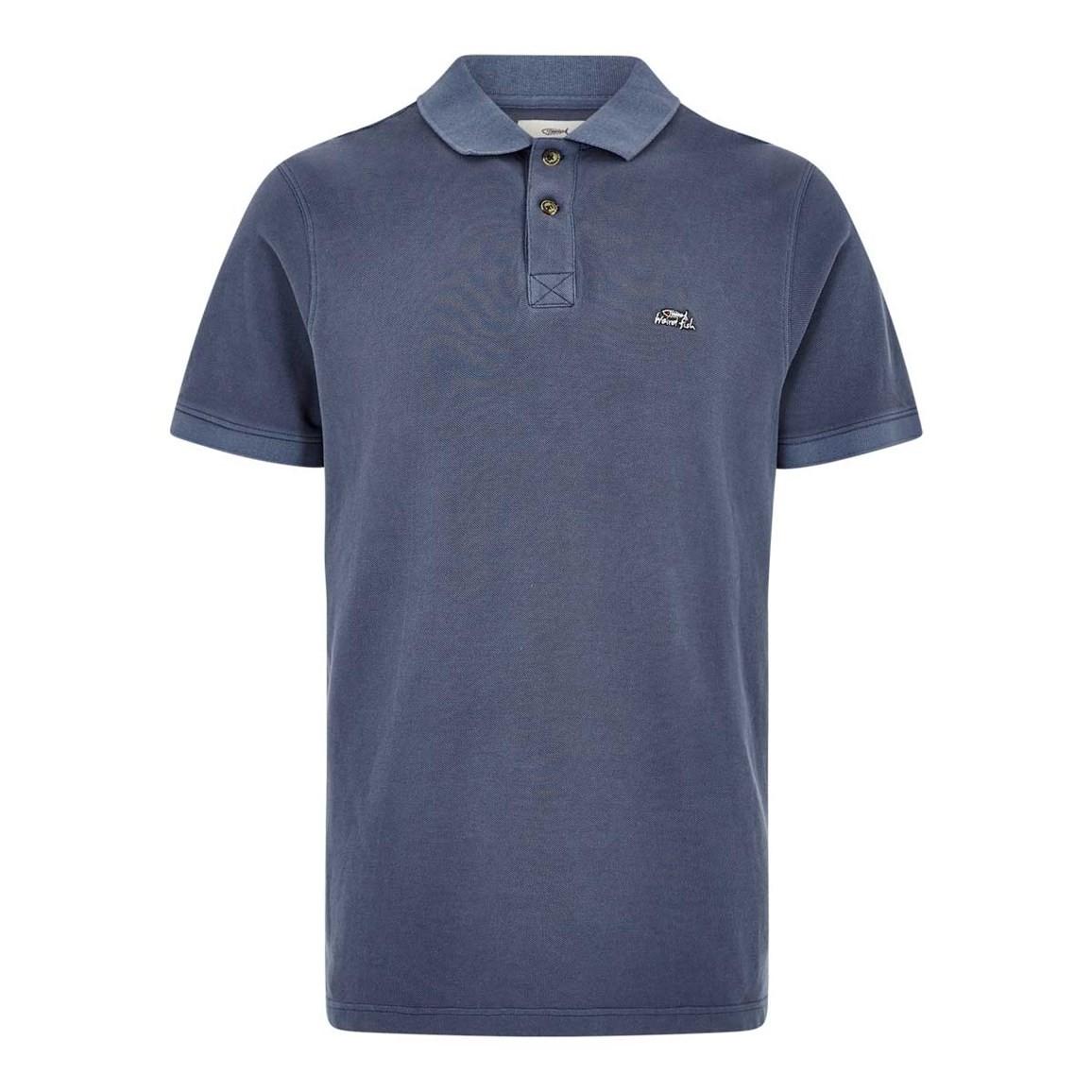 Weird Fish Edwin Garment Dyed Polo Shirt Pewter