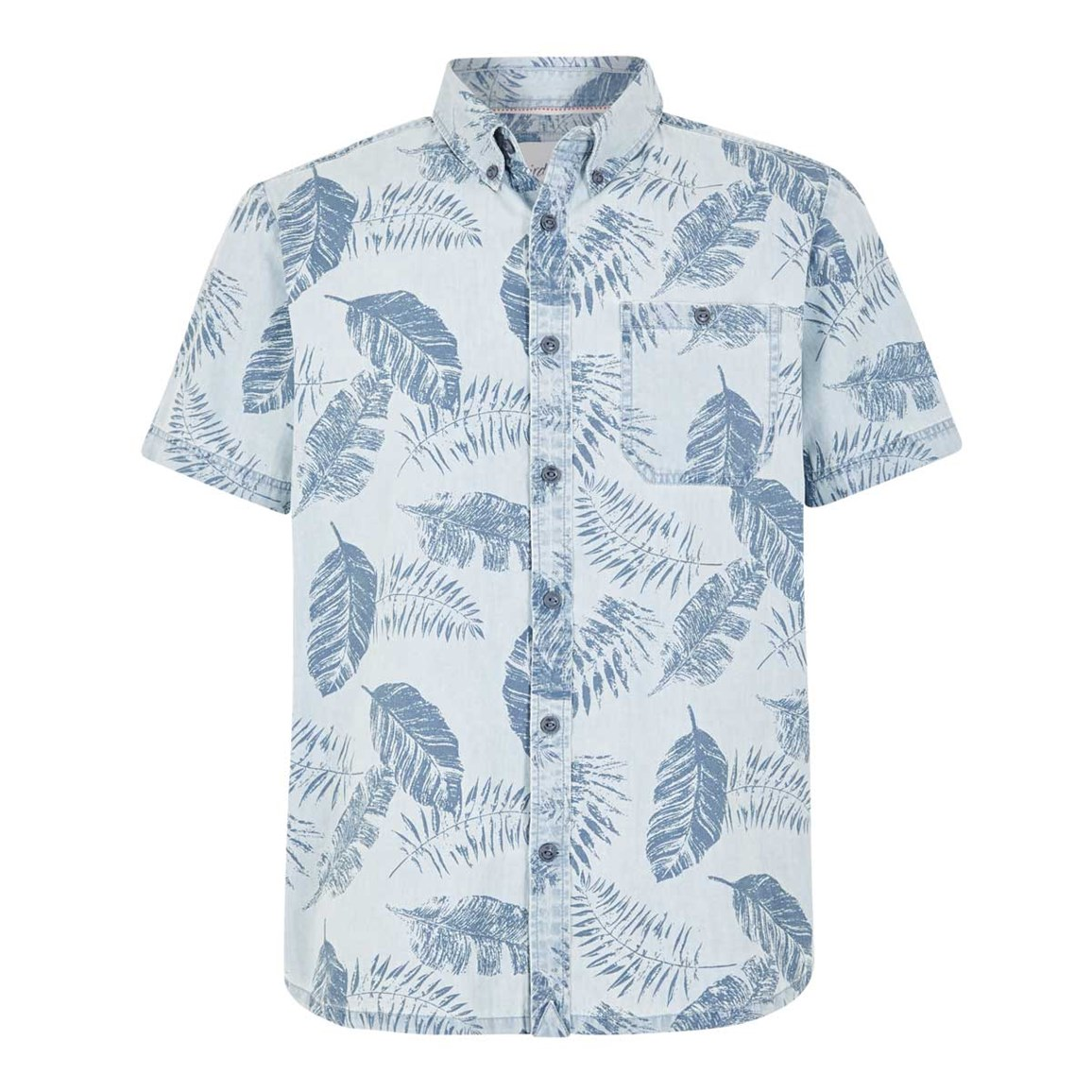 Weird Fish Harris Button Down Printed Denim Short Sleeve Shirt Denim Blue