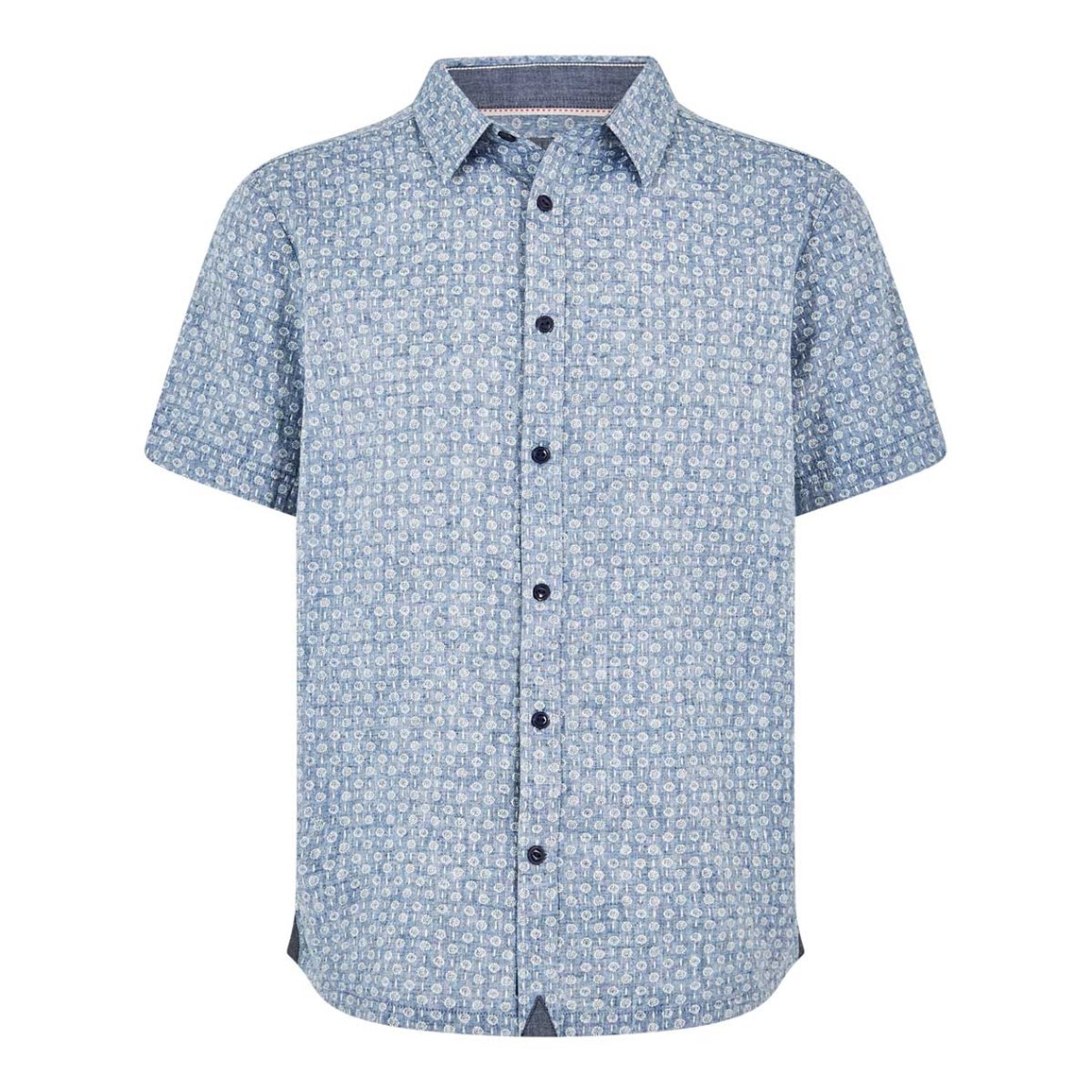 Weird Fish Borgue Linen Mix Printed Short Sleeve Shirt Denim Blue