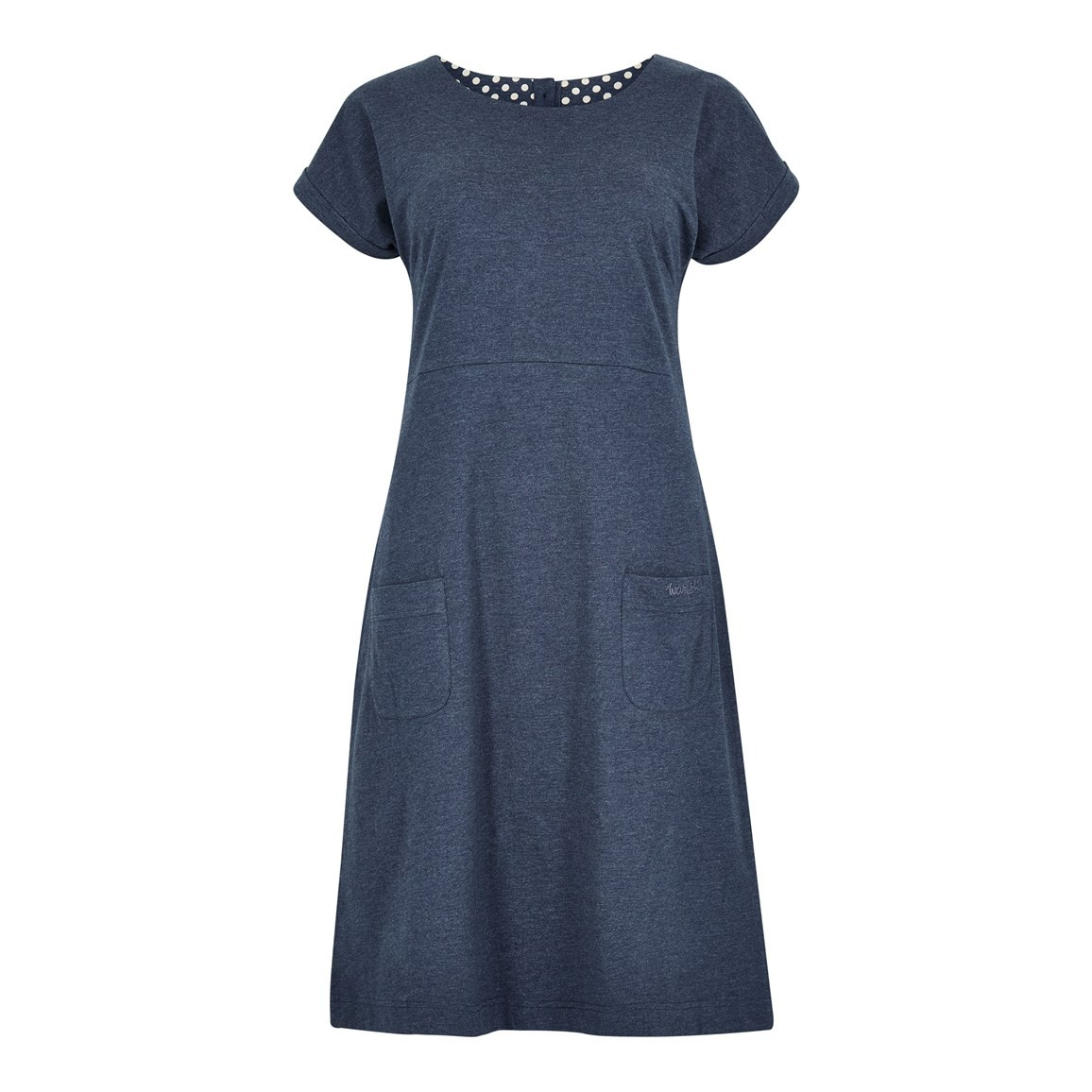 Weird Fish Talia Plain Jersey Dress Dark Navy Marl