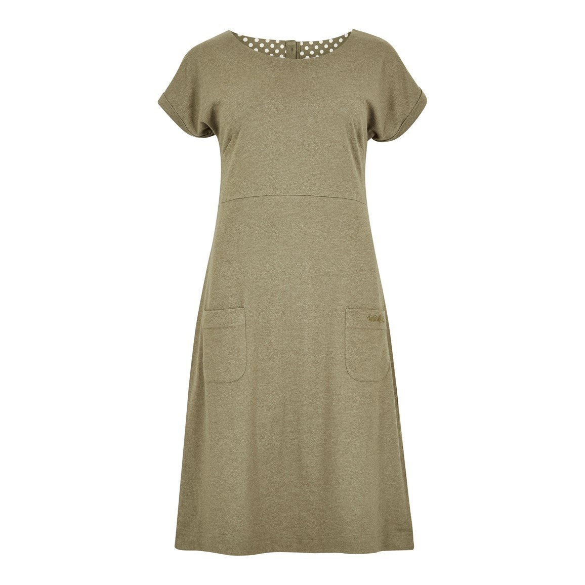 Weird Fish Talia Plain Jersey Dress Dusky Green Marl