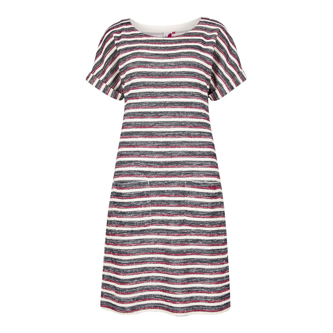 Weird Fish Brit Stripe Jersey Dress Light Cream