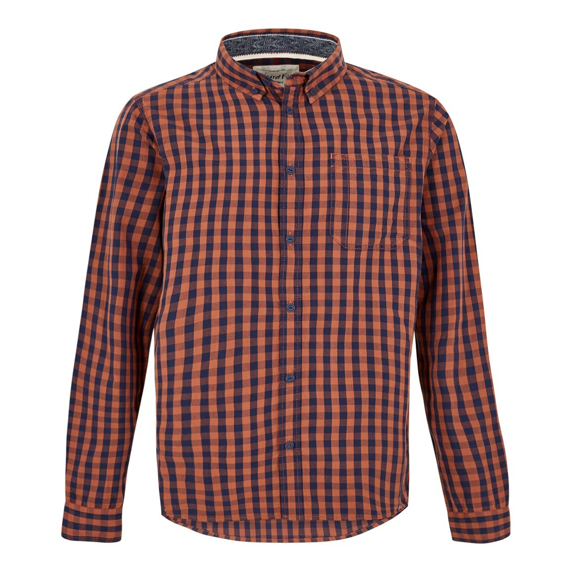 Weird Fish Blakely Long Sleeve Gingham Check Shirt Brick Orange