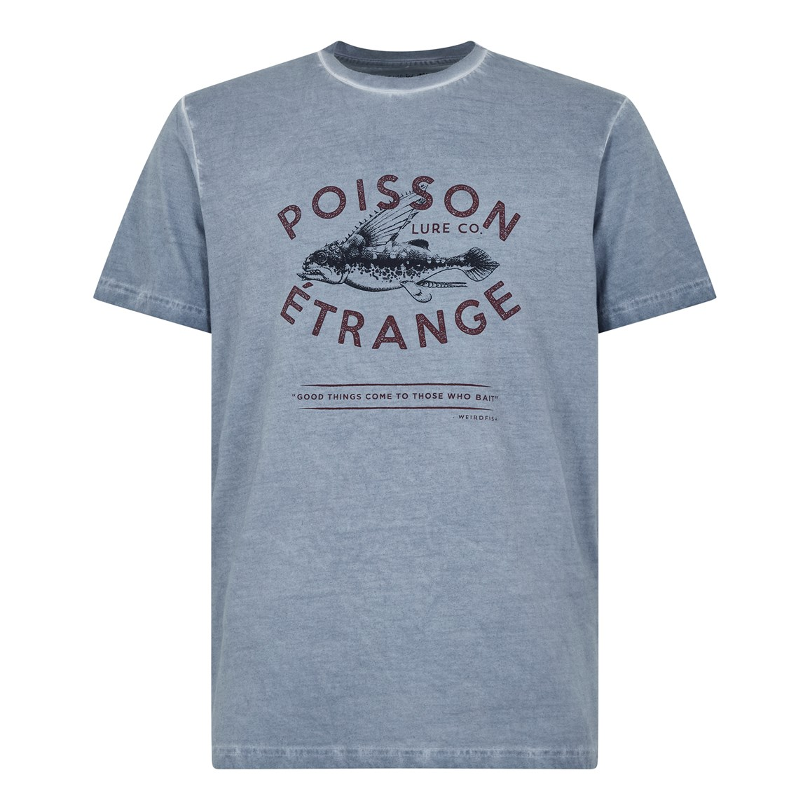 Weird Fish Poisson Branded Graphic T-Shirt Pale Denim