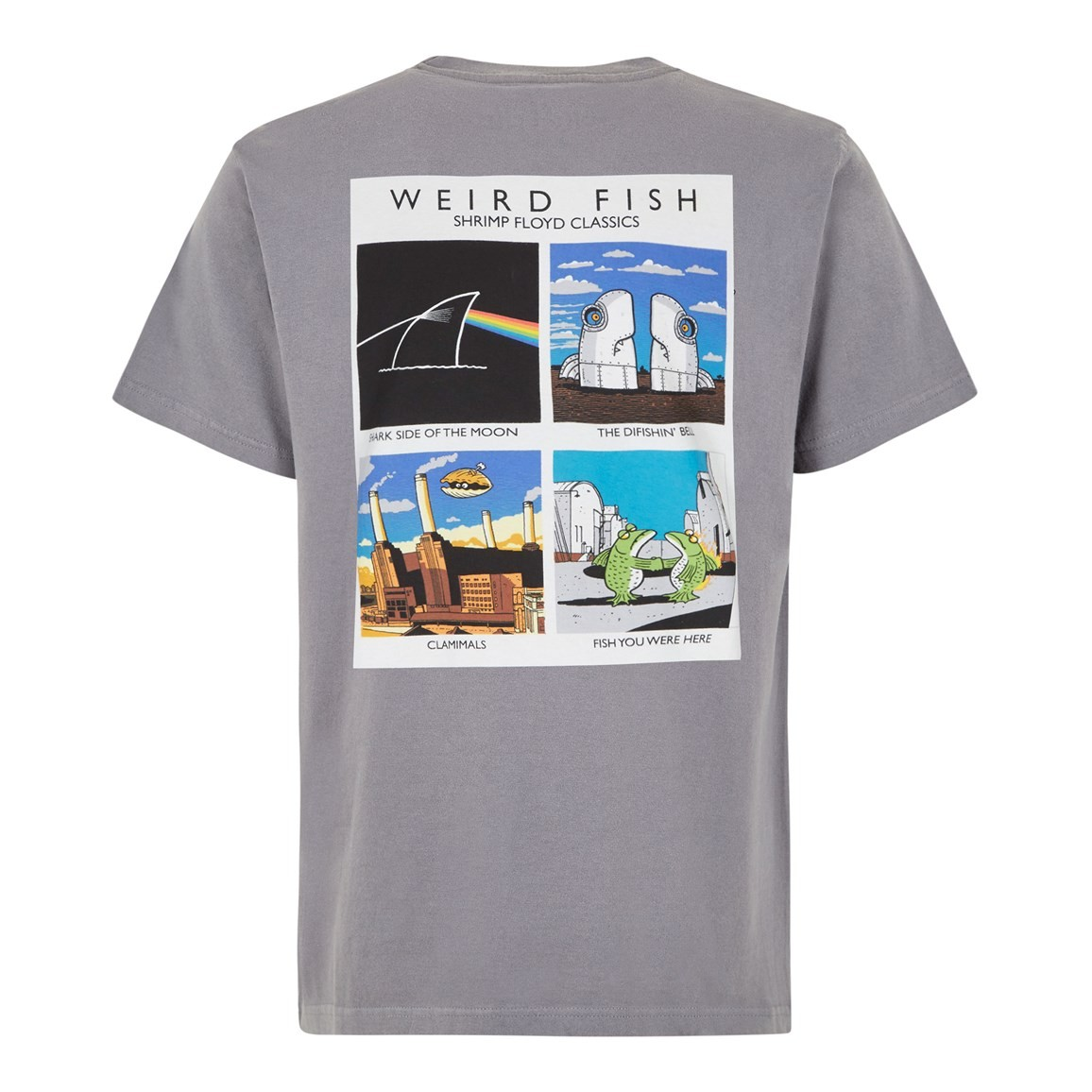 Weird Fish Shrimp Floyd Front Print Artist T-Shirt Grey