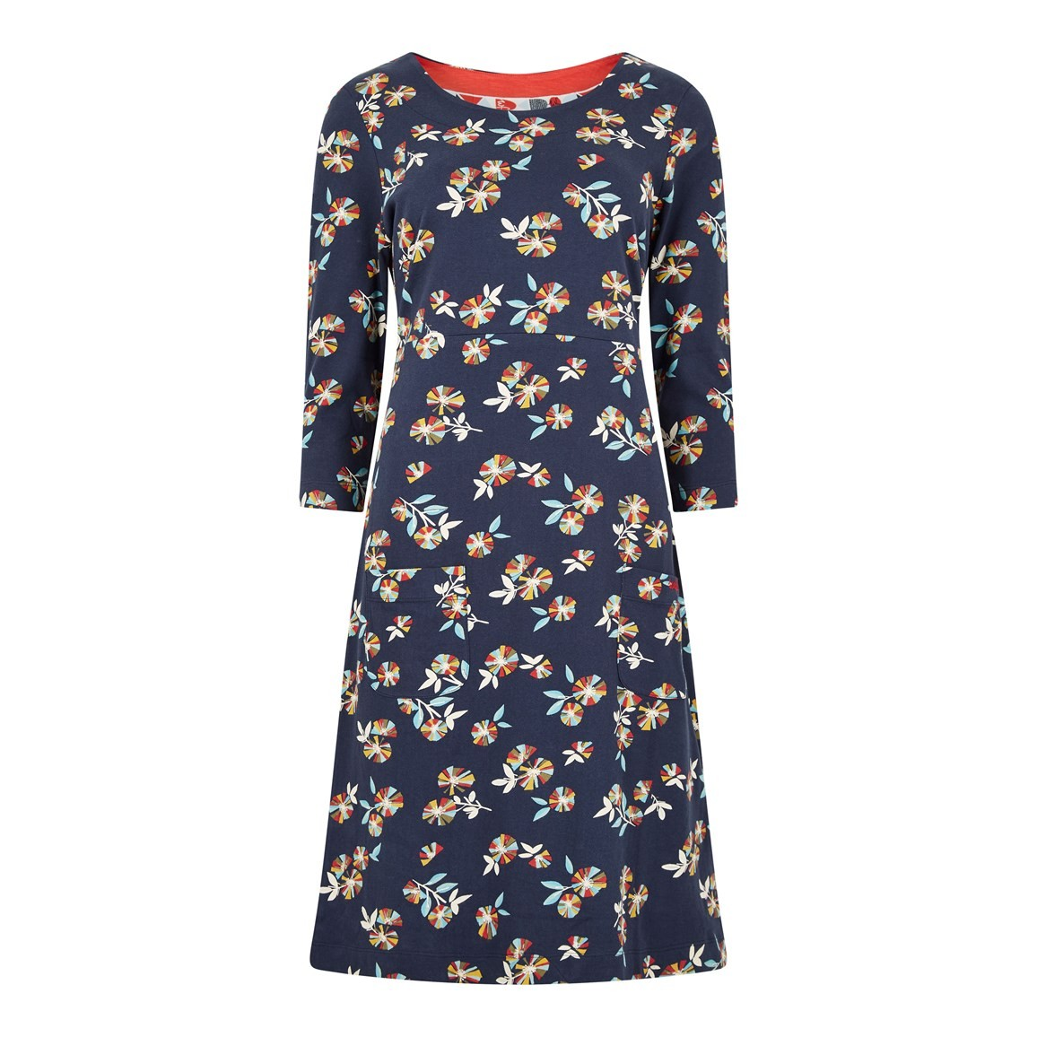 Weird Fish Starshine Printed Jersey Dress Indigo