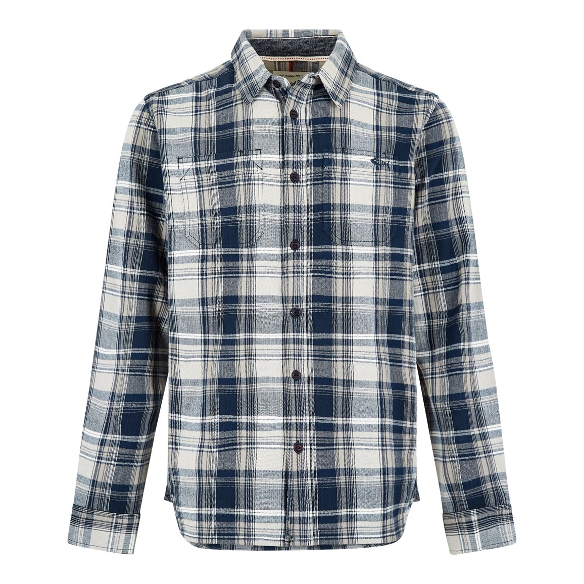 Weird Fish Matanic Long Sleeve Herringbone Check Shirt Maritime Blue