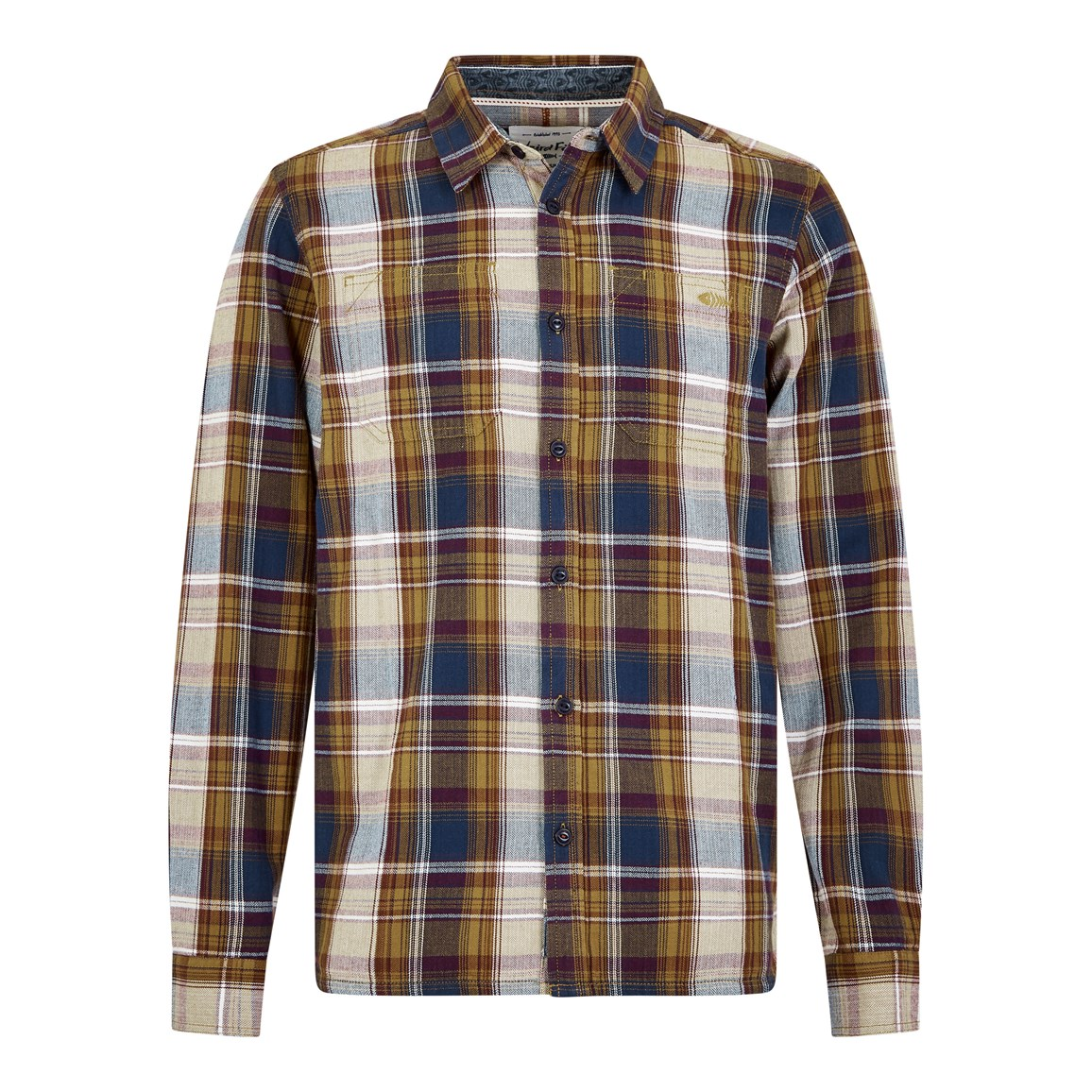 Weird Fish Matanic Long Sleeve Herringbone Check Shirt English Mustard