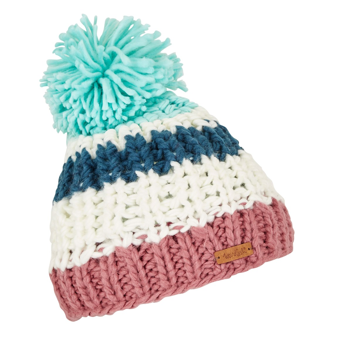 Weird Fish Kathy Block Stripe Bobble Hat Deep Sea Blue