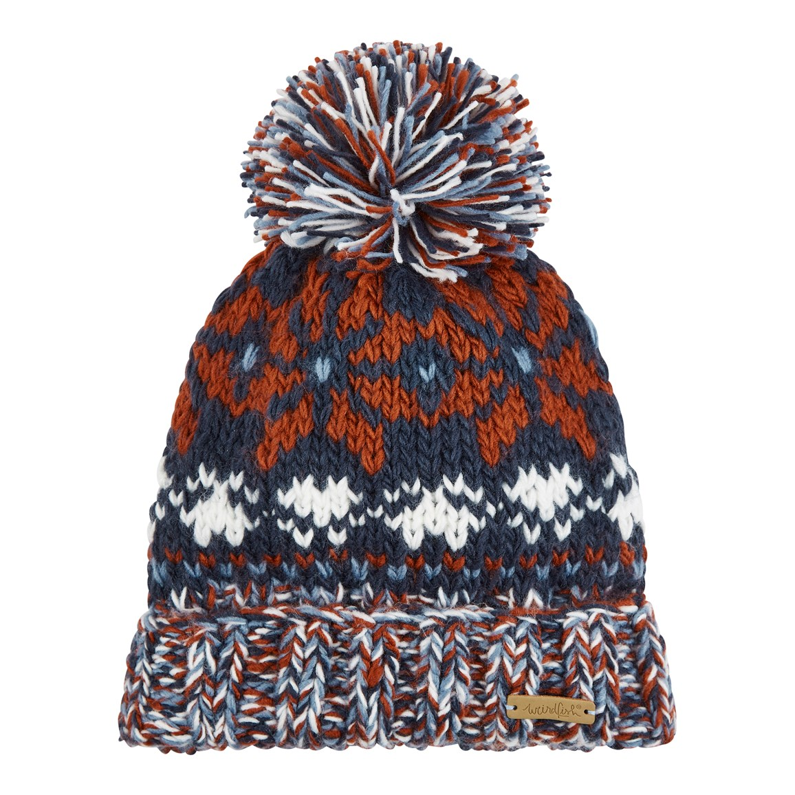 Weird Fish Ellen Fair Isle Bobble Hat Dark Navy