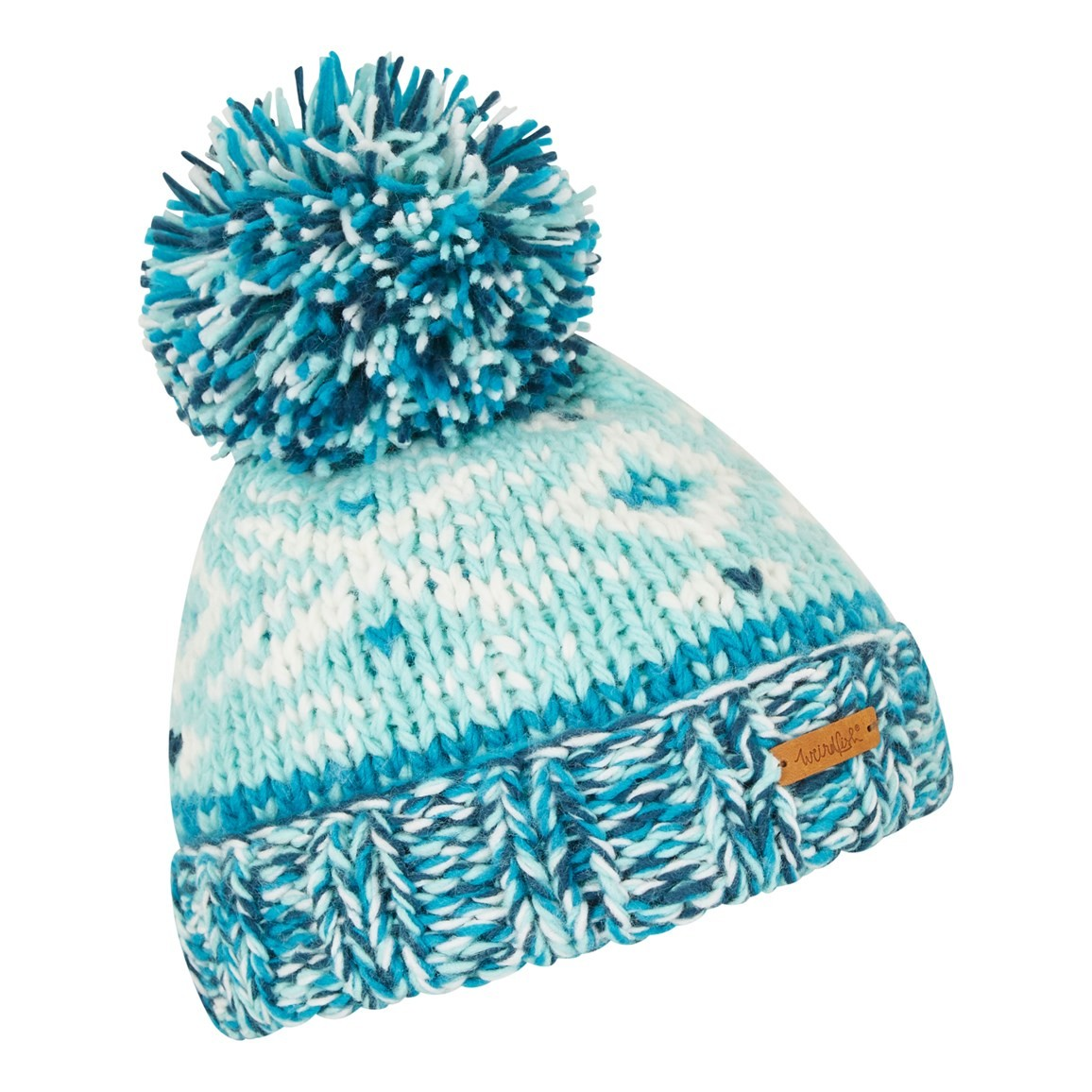 Weird Fish Ellen Fair Isle Bobble Hat Aqua Marine