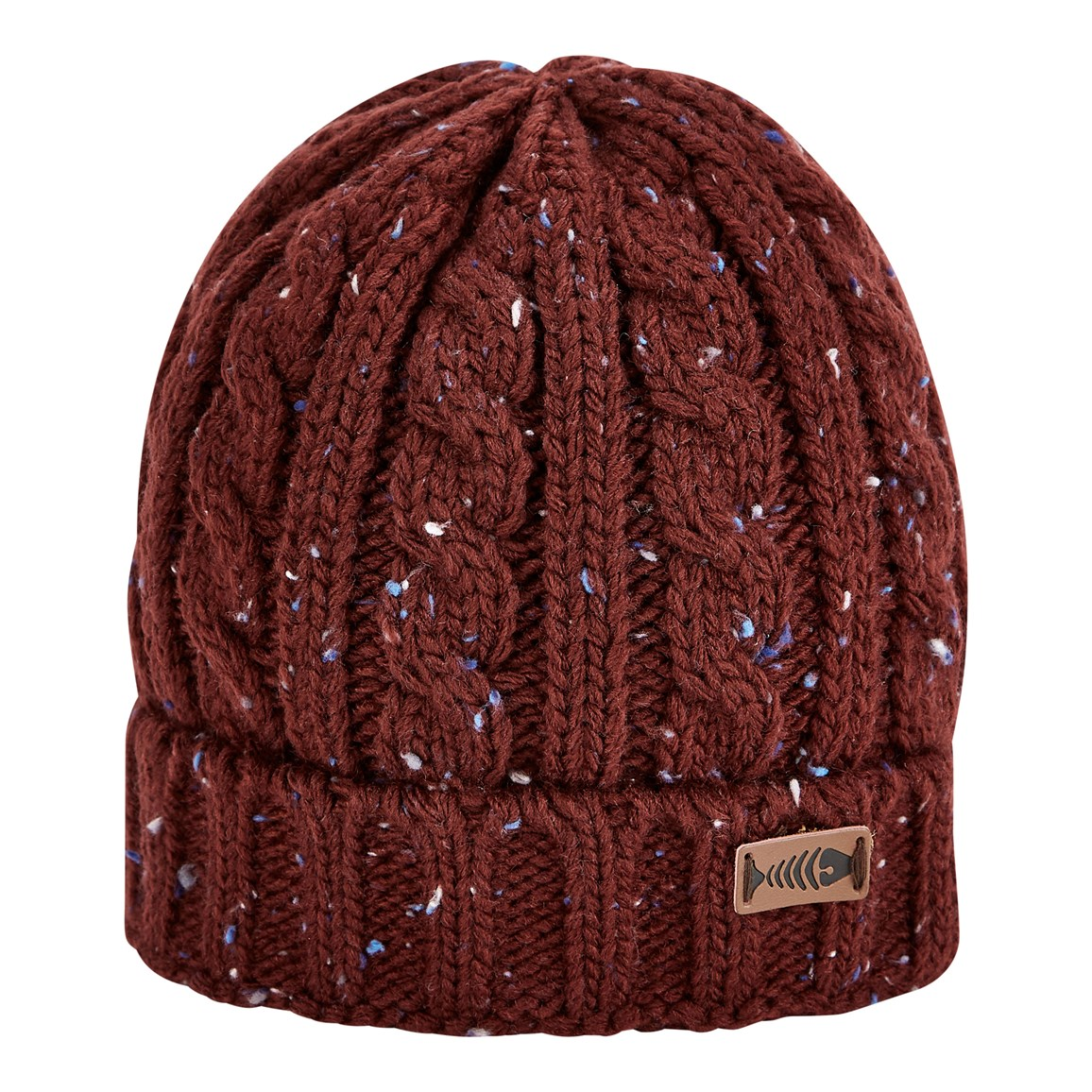 Weird Fish Hollis Cable Nepp Beanie Hat Oxblood
