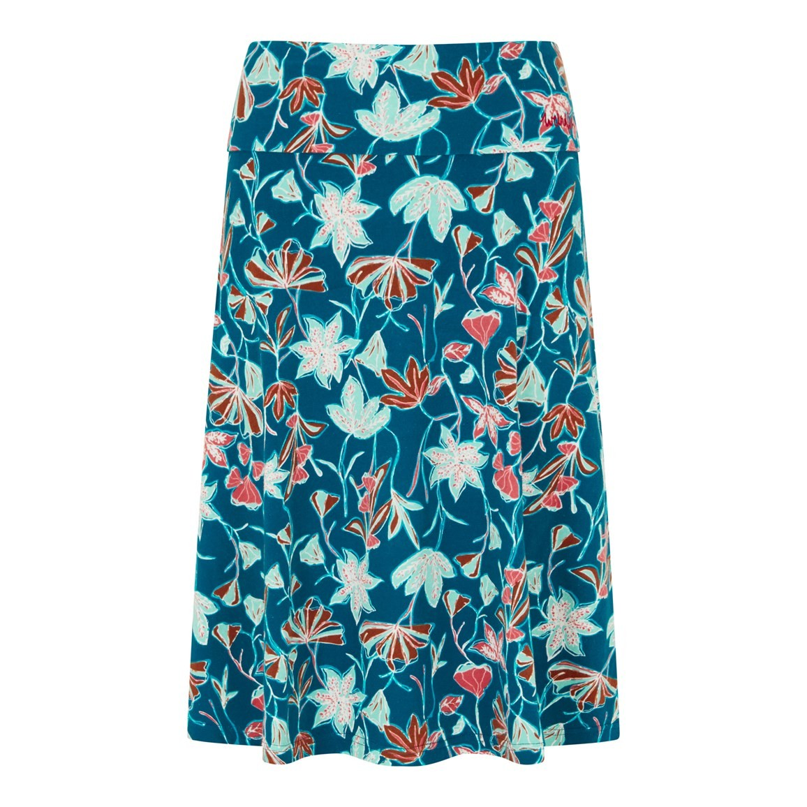 Weird Fish Malmo Printed Jersey Skirt Deep Sea Blue