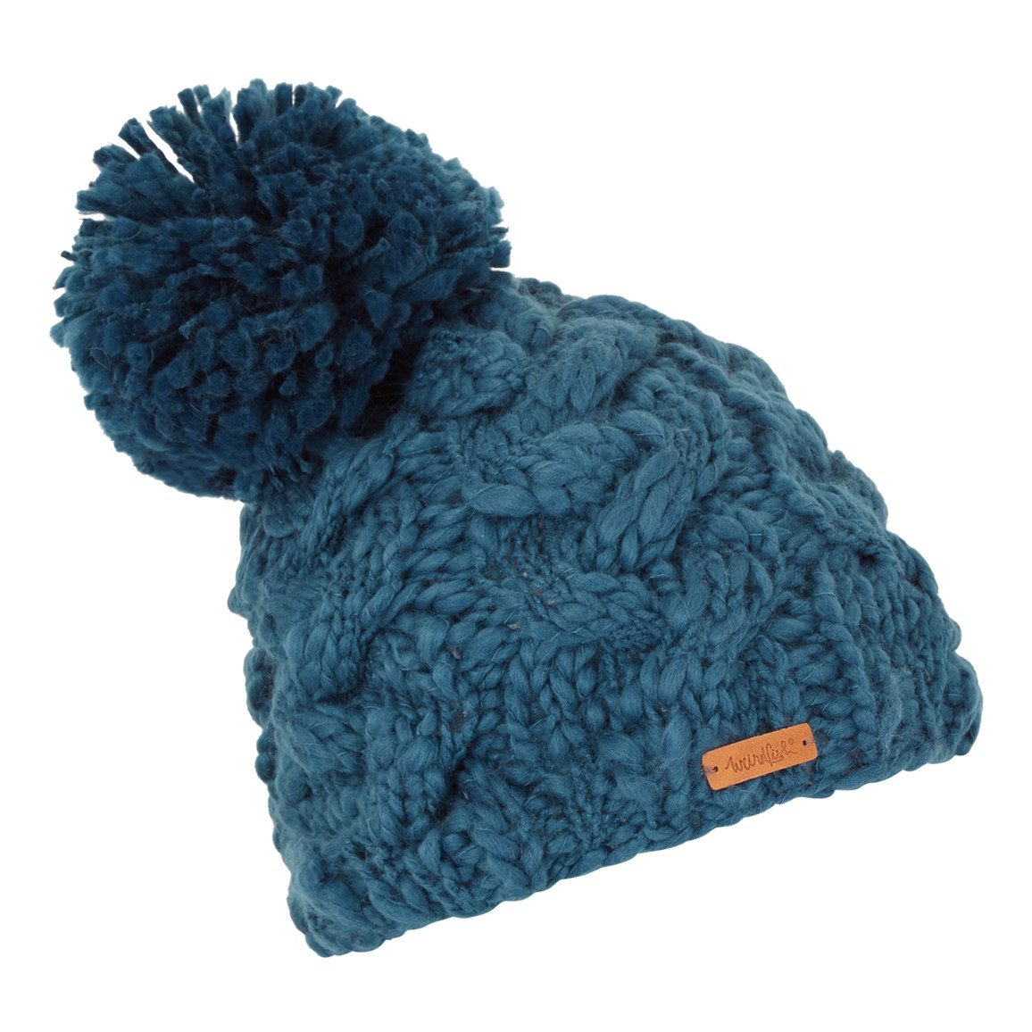 04b49ce7d8a Weird Fish Aysha Cable Knit Bobble Hat Deep Sea Blue