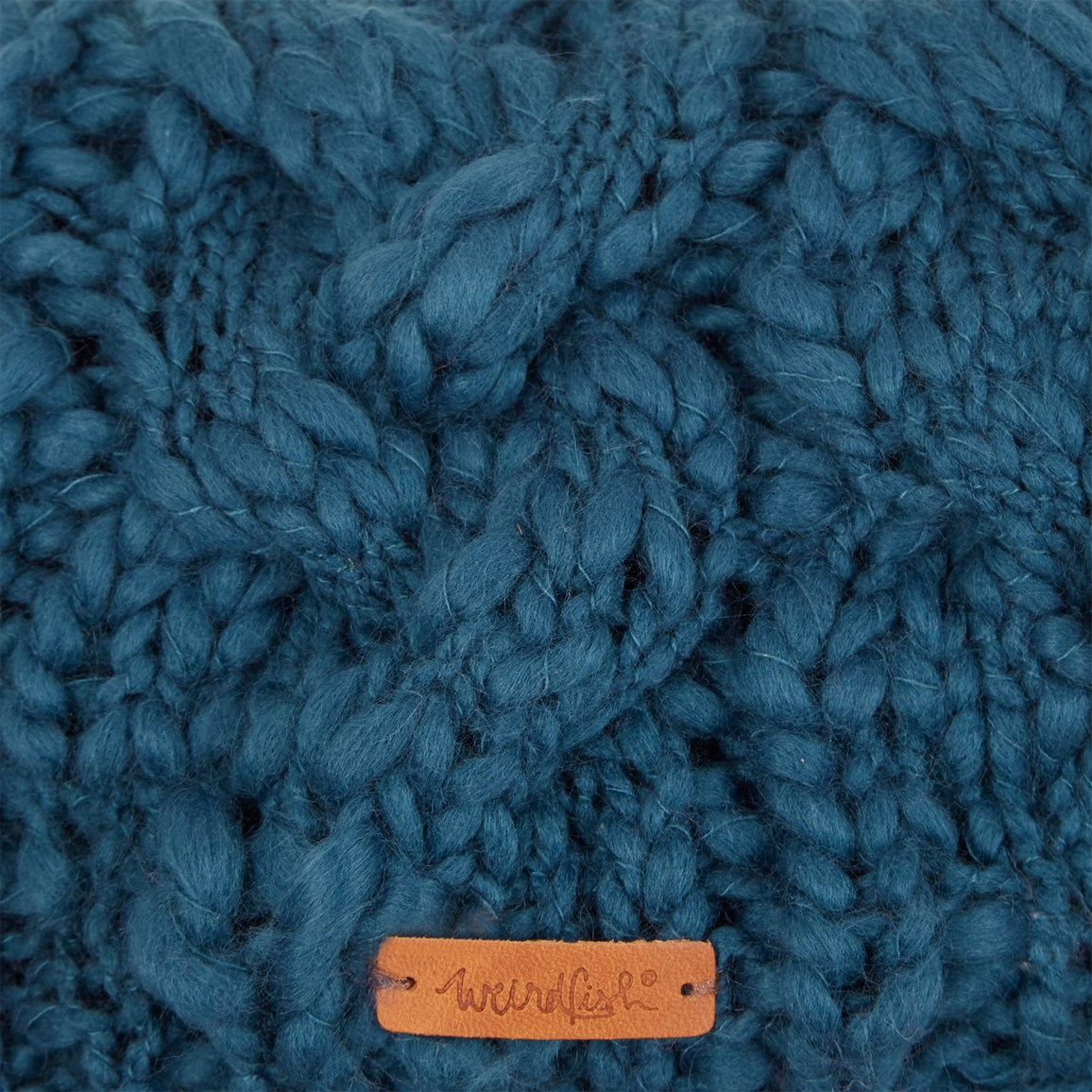 cd2f9c7ba64 Aysha Cable Knit Bobble Hat Deep Sea Blue