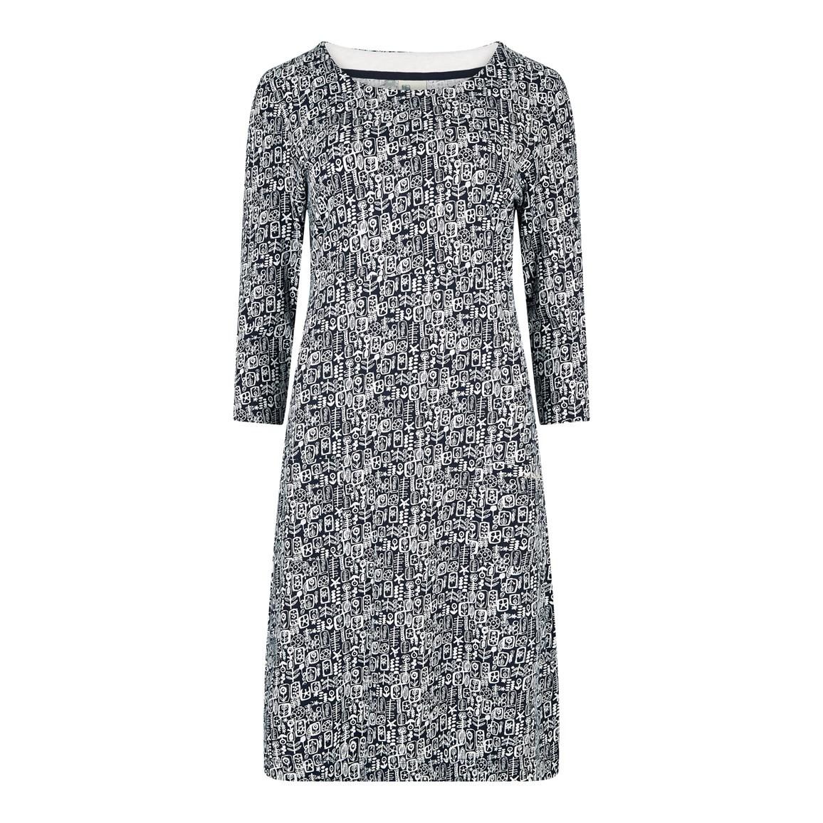 Weird Fish Starshine Printed Jersey Dress Indigo