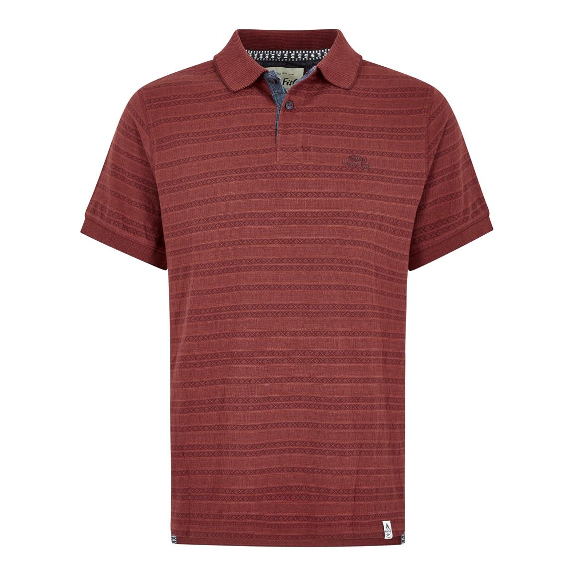 Weird Fish Baskin Jacquard Striped Polo Shirt Retro Red Size S