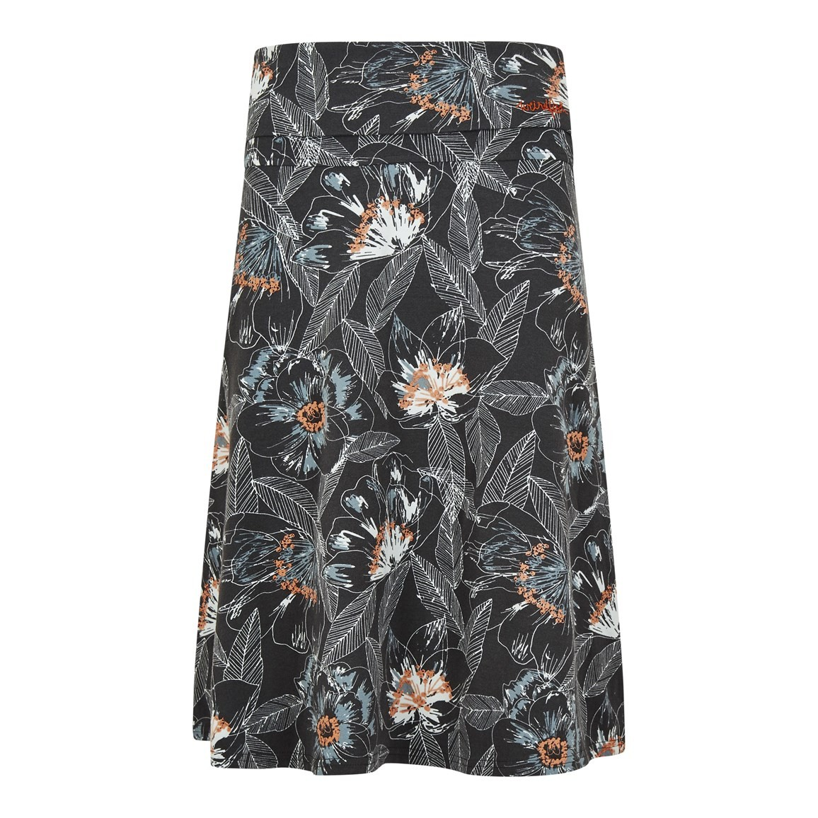 Weird Fish Malmo Printed Jersey Skirt Washed Black