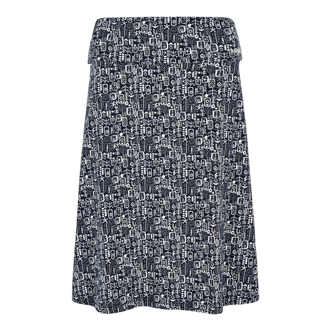 Weird Fish Malmo Printed Jersey Skirt Indigo