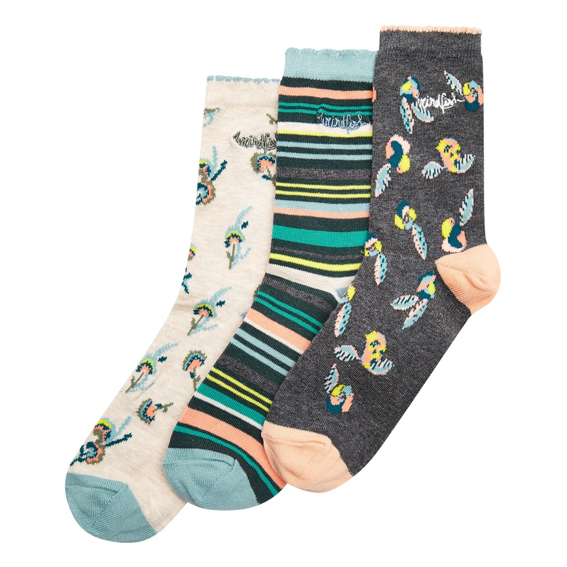 Weird Fish Parade Patterned Socks Multipack Washed Black