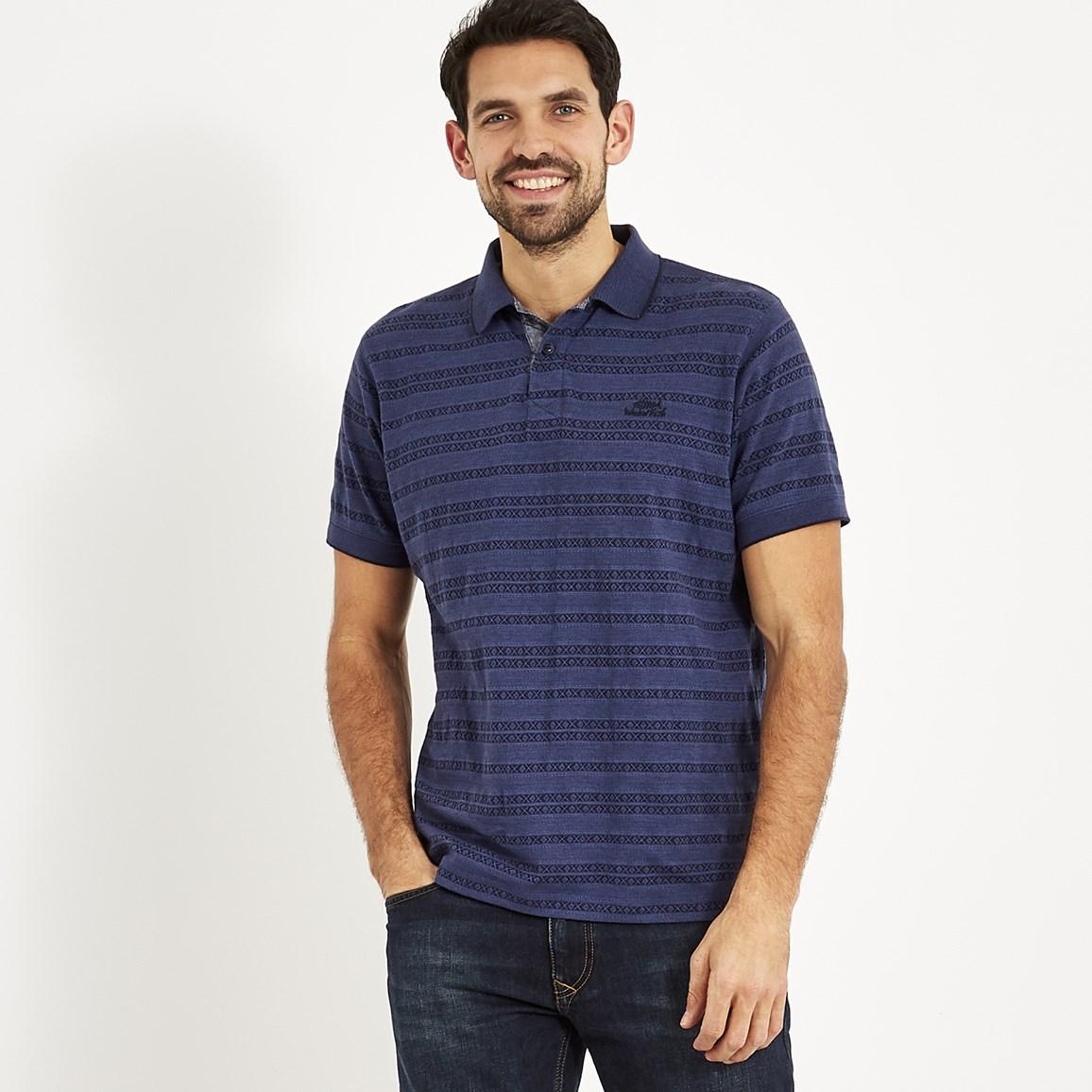 b4b77048d8b0 Baskin Jacquard Striped Polo Shirt Dark Navy