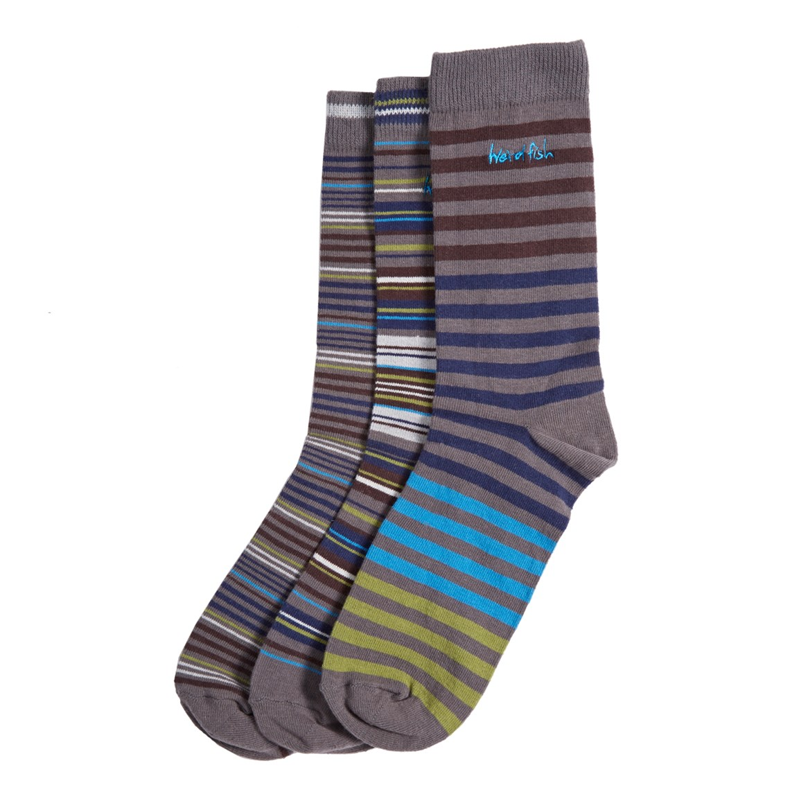 Weird Fish Porlock Striped Socks (3-Pack) Dark Gull Grey