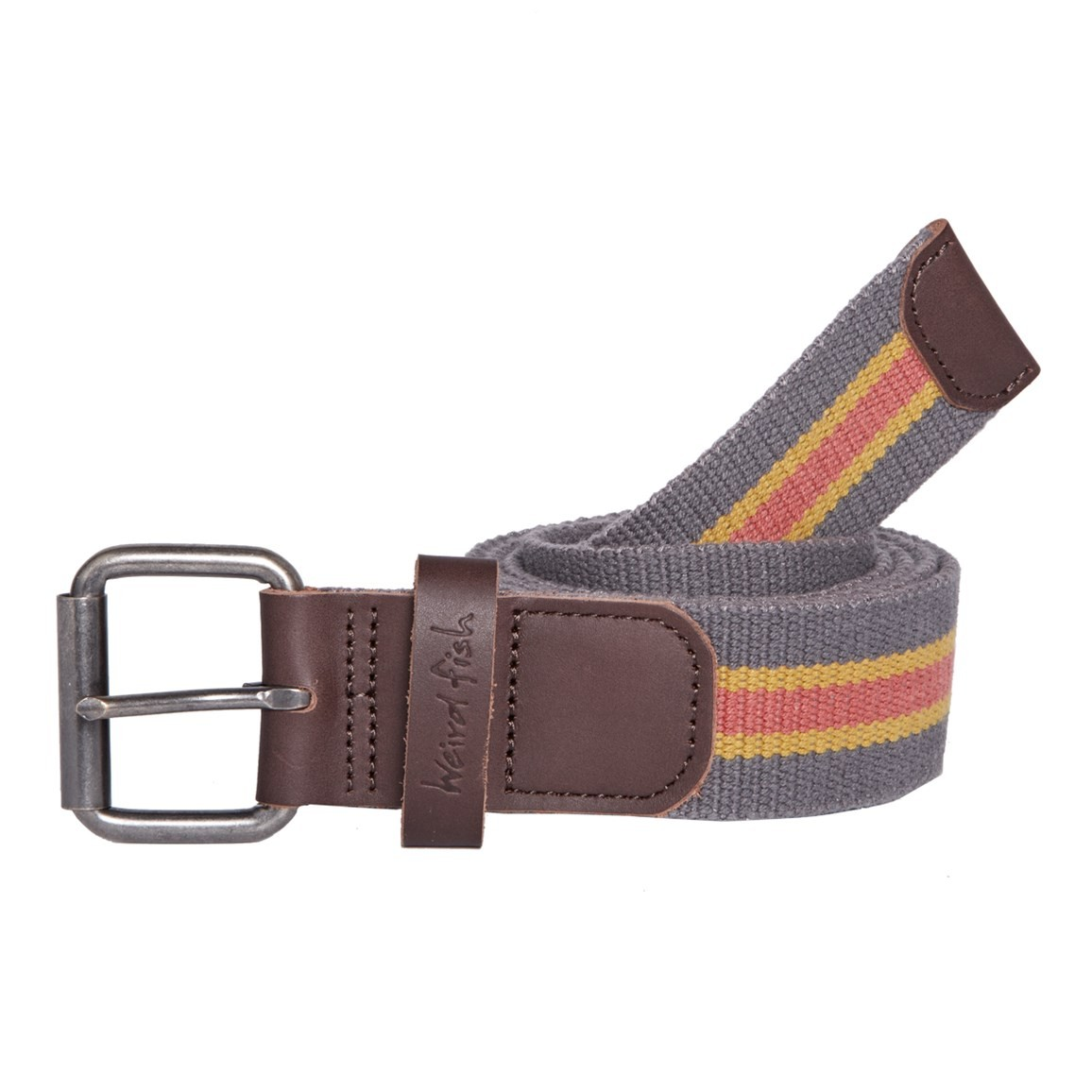 Weird Fish Celtis Striped Belt Dark Gull Grey