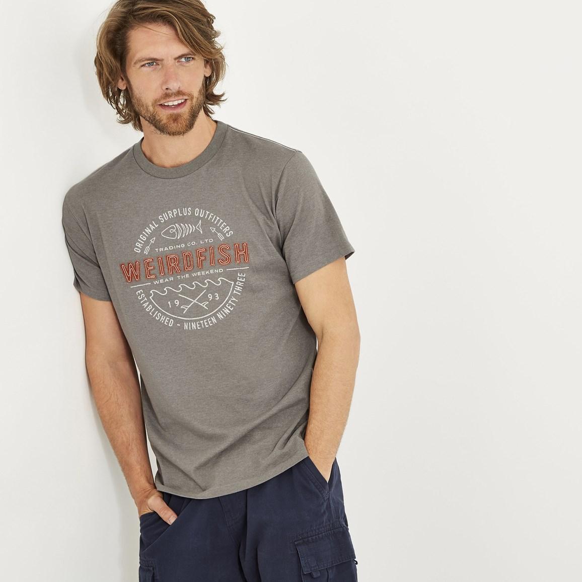 Weird Fish Surplus Applique T-Shirt Steel Grey Marl Size M