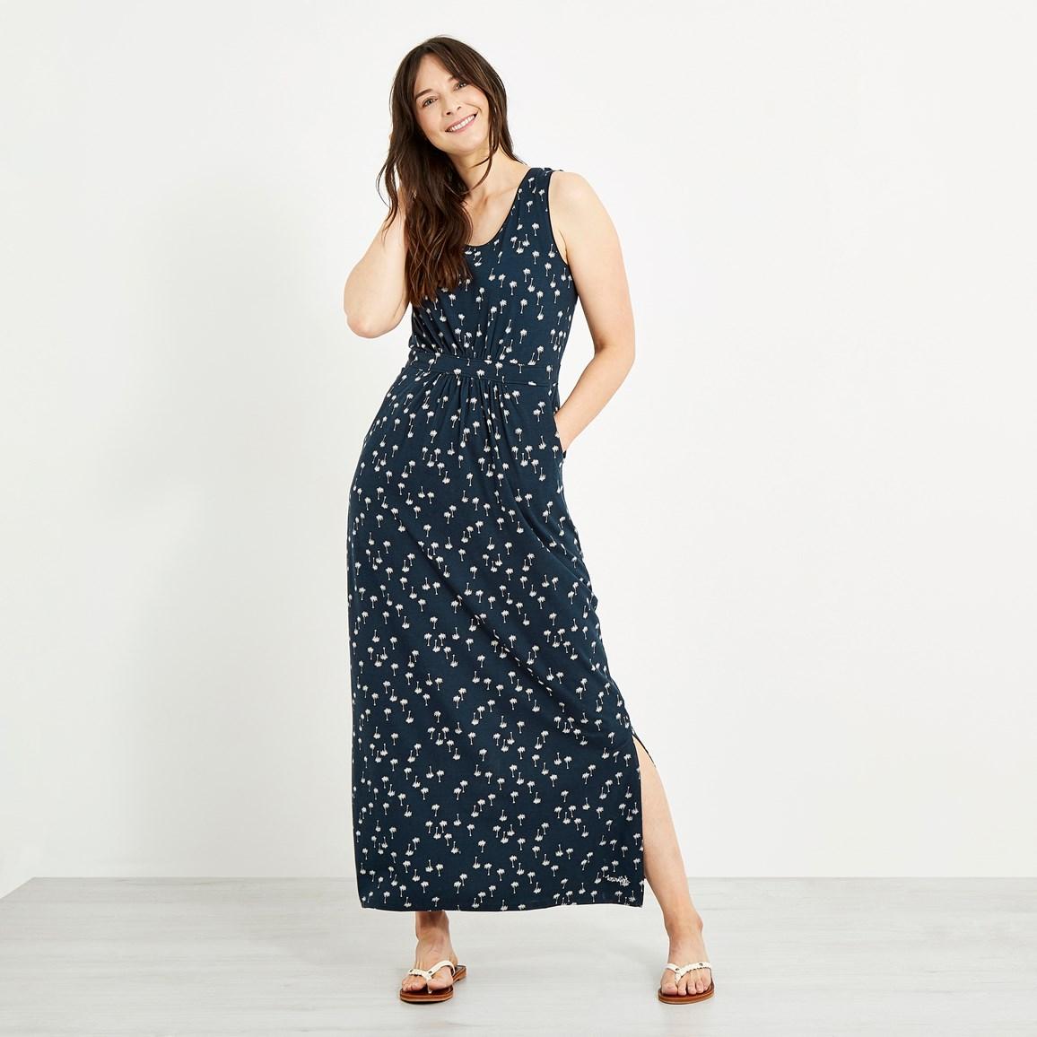 Weird Fish Melina Printed Maxi Dress Maritime Blue
