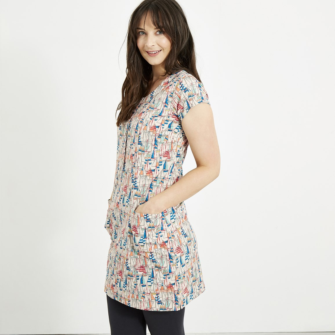 Weird Fish Alanis Printed Stretch Tunic Shell