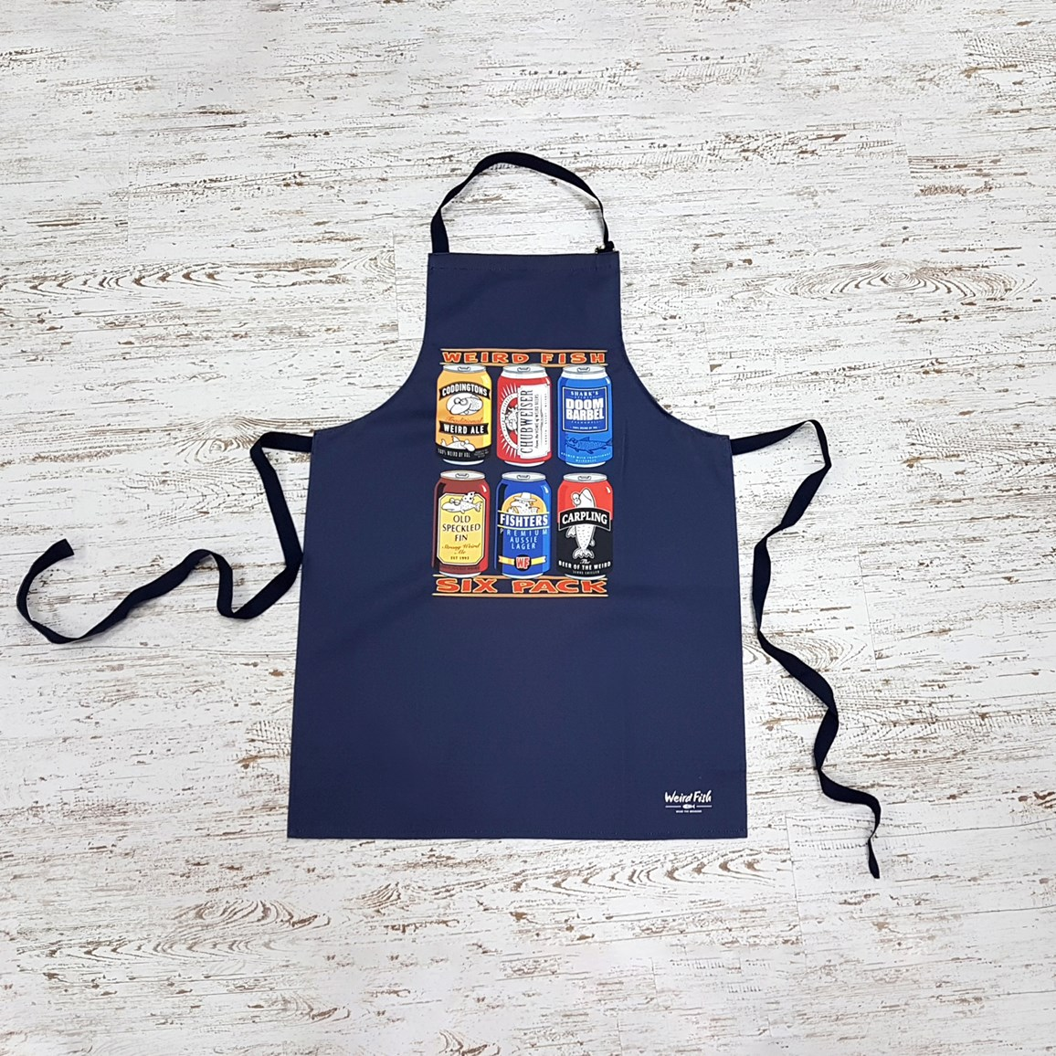 Image of Weird Fish Tony 6 Pack Design Apron Dark Navy Size ONE
