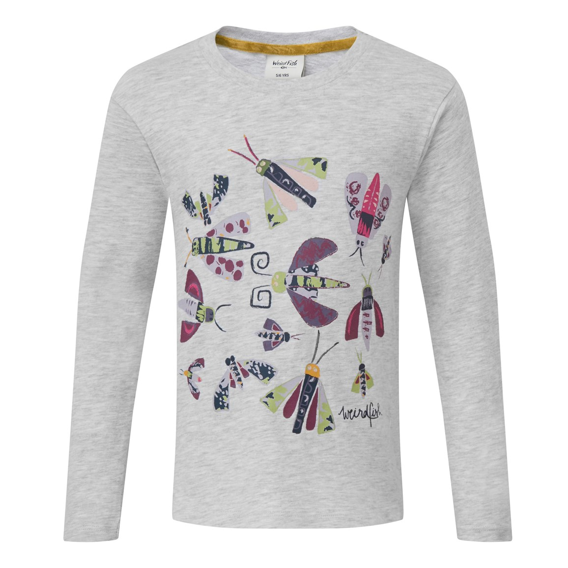 weird fish bugsy long sleeved graphic t-shirt grey marl size 9-10