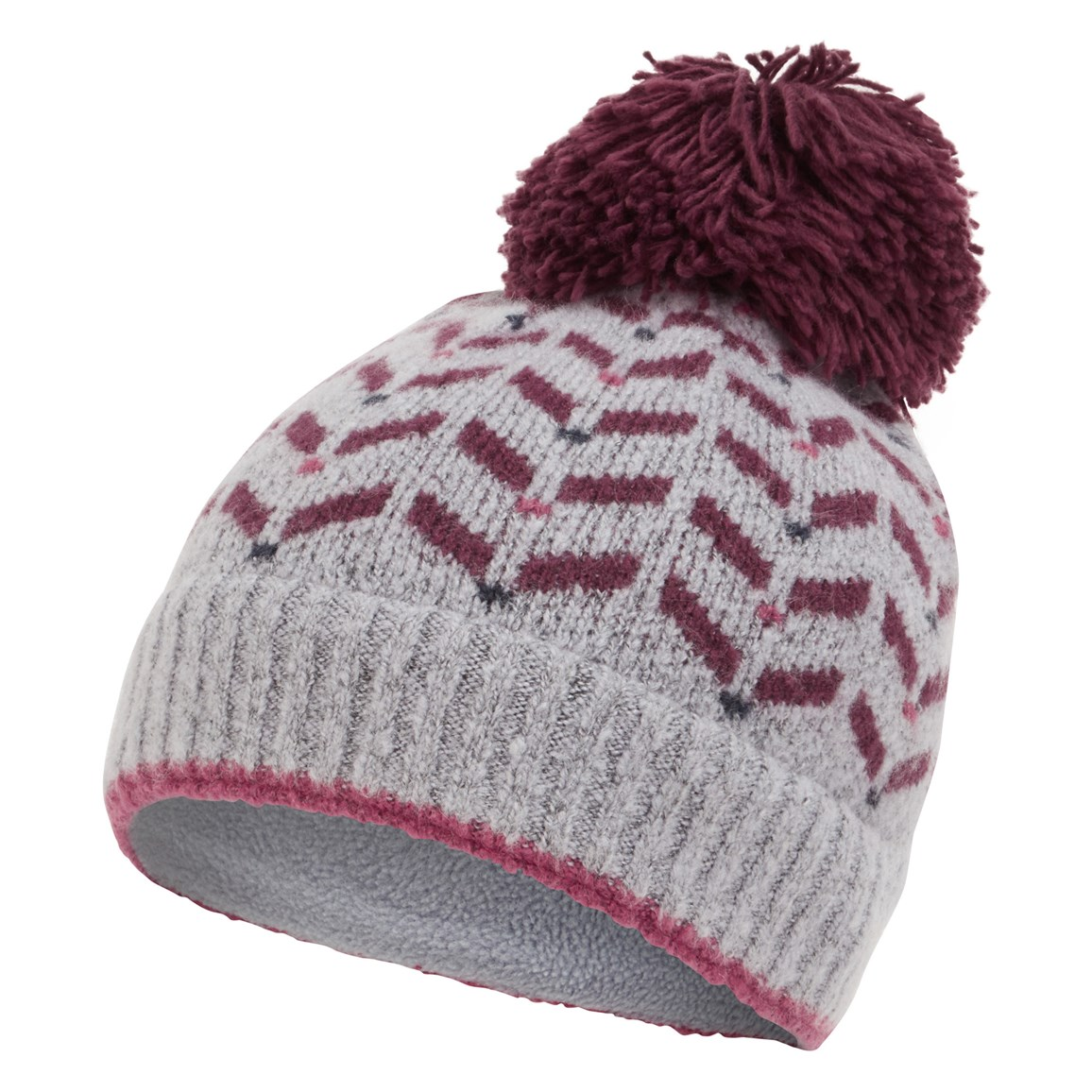 weird fish lana fair isle patterned bobble hat light thistle size one